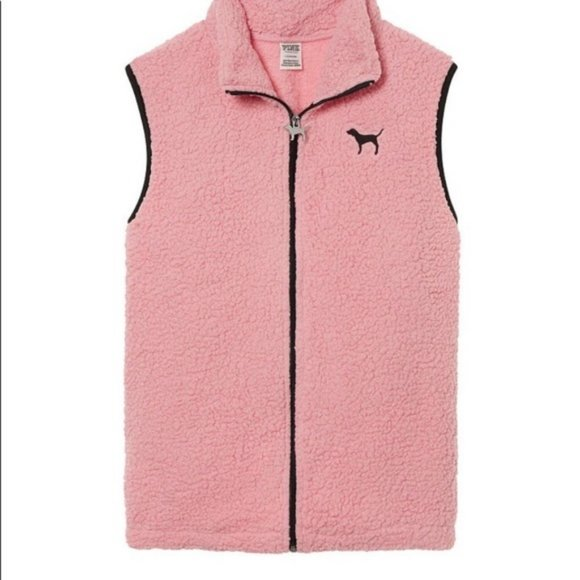 PINK Jackets & Blazers - Victoria's Secret PINK, Pink Sherpa Vest Large